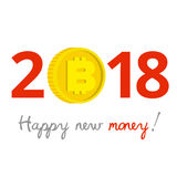 New Year 2018 business concept. Gold bitcoin instead of zero Royalty Free Stock Images