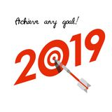 New Year 2019 business concept. Target with dart instead of zero - symbol of success, achievements. Slogan `Achieve any goal!` at the top. Isometric 3d Royalty Free Stock Photo