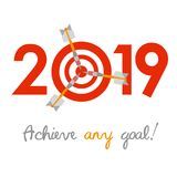 New Year 2019 business concept. Target with three darts instead of zero - symbol of success, achievements. Slogan `Achieve any goal!` at the bottom vector illustration