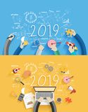 2019 new year business success creative drawing charts and graphs. Analysis and planning, consulting, team work, project management, brainstorming, research and royalty free illustration