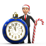 New Year businessman with a clock and a lollipop Stock Photos