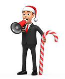 New Year businessman with megaphone and candy. 3d New Year businessman with megaphone and candy Stock Images