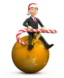 New Year businessman sitting on Christmas toys with candy. 3d New Year businessman sitting on Christmas toys with candy Royalty Free Stock Image