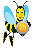 New year button and bee Royalty Free Stock Photos