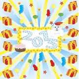 2015 new year, cake, sheep. vector illustration. 2015 new year card with white sheep. vector illustration Royalty Free Stock Photo