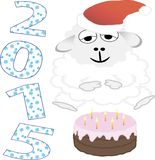 2015 new year, cake, sheep. vector illustration. 2015 new year card with white lamb. vector illustration Royalty Free Stock Photo