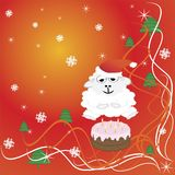 2015 new year, cake, sheep. vector illustration. 2015 new year card with white lamb. vector illustration Royalty Free Stock Photos