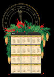 New Year calendar. 2011 calendar with branches of fir and clock Stock Photography