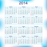 New Year 2014 calendar for all months Stock Photography
