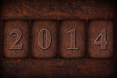New year 2014 calendar background. On brown rusty texture Stock Photo