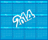 New Year 2014 Calendar blue colorful  Royalty Free Stock Photography