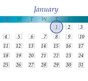 New year calendar blue and white. 1st january new year on calendar stock illustration