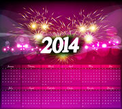 New Year 2014 Calendar celebration. Colorful royalty free illustration