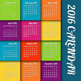 New year 2016 calendar. With colored tiles Royalty Free Stock Image