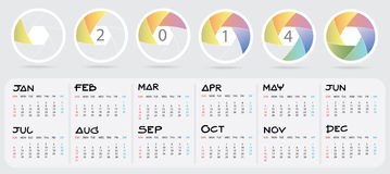 2014 New Year calendar. Colorful shutter blade : New year 2014 Calendar Stock Image