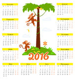 New year calendar with cute cartoon monkey and 2016. New year calendar with cute cartoon monkey. 2016 royalty free illustration