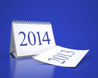 New Year 2014 Calendar. 3D desktop calendar 2013 and 2014 in blue background vector illustration