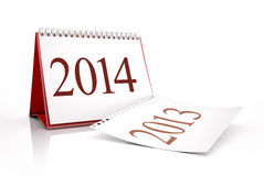 New Year 2014 Calendar. 3D desktop calendar 2013 and 2014 in red background stock illustration