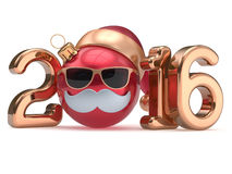 New 2016 Year calendar date emoticon Christmas ball bauble. Happy Santa Claus hat cartoon mustache face decoration cute red gold. Merry Xmas funny glasses Stock Photography