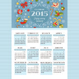 New year calendar. 2015 calendar with decoration elements vector illustration Royalty Free Stock Images