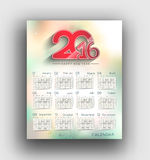 New year 2016 Calendar Royalty Free Stock Photos