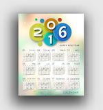 New year 2016 Calendar. Design Stock Images