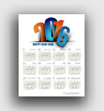 New year 2016 Calendar Royalty Free Stock Photography