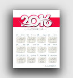 New year 2016 Calendar Royalty Free Stock Image