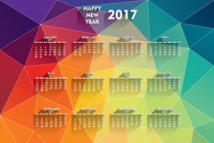 New year 2017 calendar design. Creative new year 2017 calendar design with colorful geometrical pattern background design Royalty Free Stock Images