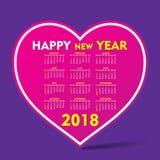 New year 2018 calendar design. Creative heart shape new year 2018 calendar 2018 template design Stock Photography