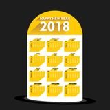 New year 2018 calendar design. Creative new year 2018 calendar 2018 template design with milestone royalty free illustration
