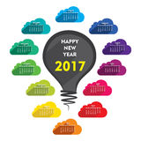 New year 2017 calendar design. Creative new year 2017 calendar design using bulb with cloud Stock Image