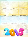 New Year 2015 calendar design with stylish text. Stock Image