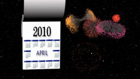 New Year 2010-2011 calendar, fireworks in space stock video
