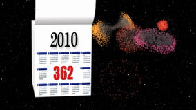 New Year 2010-2011 calendar, fireworks in space stock footage