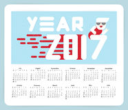New Year 2017 calendar. Flat design. Big white letters. Simple shapes. Vector illustration. template for Stock Photos