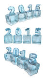 New year 2015. Calendar on ice, water cube Royalty Free Stock Image