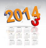 New year 2014 calendar. Illustration Stock Photography