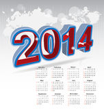 New year 2014 calendar. Illustration Royalty Free Stock Image