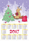 New year calendar. Calendar for 2017 with the image of funny animals and Christmas tree Royalty Free Stock Images