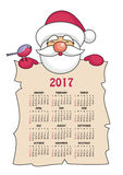 New year calendar 2017. Calendar 2017 with the image of funny  Santa Claus Stock Photography