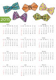 New year 2015  calendar with ornamental bow tie Royalty Free Stock Photography