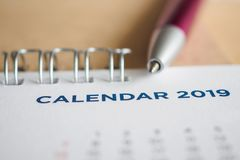 New year calendar page 2019 stock image