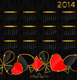 2014 new year calendar in poker theme vector Royalty Free Stock Images