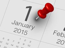 New Year Calendar. With red pin Royalty Free Stock Photo