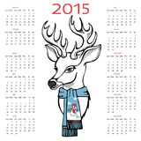 New year 2015 calendar with reindeer. Happy New year 2015 celebration calendar.Cute reindeer with scarf on white background.New year. Vector royalty free illustration