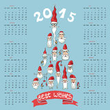New year 2015 calendar.Santa faces in fir shape. Happy New year 2015 celebration calendar. Triangles, polygons 2015 letters withh characters seasons on  white Royalty Free Stock Photos