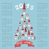 New year 2015 calendar.Santa faces in fir shape Royalty Free Stock Photos