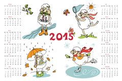 New year 2015. Calendar. Sheep in time of year. Happy New year 2015 celebration calendar. Cute Sheep girl in  time of year.Vector design template.Cute baby Royalty Free Stock Photo