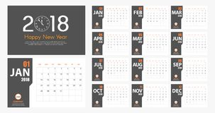 2018 New Year calendar simple modern style. Grey and orange Royalty Free Stock Photo